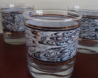 4 Anchor Hocking Blue Brown Abstract Rock Glasses 1988