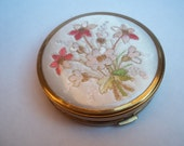 Vintage Make-Up Compact Brass with Floral design