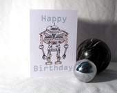 Printable Robot Birthday Card