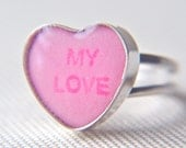 "candy heart ring pink ""my love"" in sterling size 7.5"