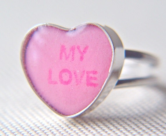 """candy heart ring pink """"my love"""" in sterling size 7.5"""