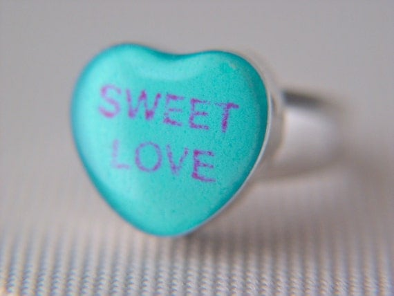 """candy heart ring """"sweet love"""" in sterling size 8"""
