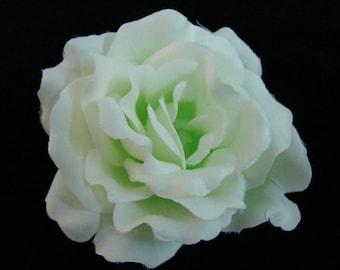 White Pale Green Silk Rose flower Hair Clip 3 Inch.