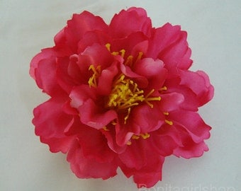 Light Red Peony flower Hair Clip 4.50 Inch.