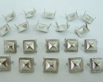 500 PCS. 10 mm.  Silver Pyramid Studs