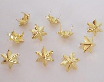 100 PCS. 15.00 mm.  Gold Hexagram Star Studs