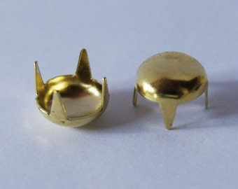 100 PCS. 9.00 mm. Gold Round Dome Studs