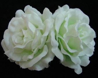 White Pale Light Green Silk Rose flower Barrette Hair Clip