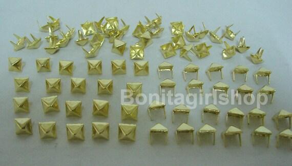 100 PCS. 8.00 mm.  Gold Pyramid Studs