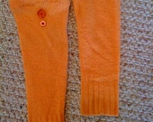 Orange Mod Upcycled Leggies with Button Accents