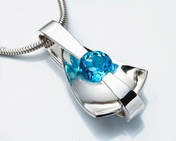 Swiss Blue Topaz Necklace - Birthstone - Modern Jewelry - Argentium Silver - Eco-Friendly - 3497