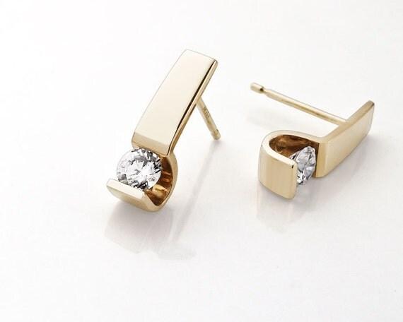 14k gold earrings - designer jewelry - CZ earrings - gold earrings - 2027