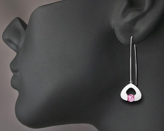 Pink Topaz - Drop Earrings - Dangle - Eco-Friendly - Pink Earrings - Argentium Silver - 2423