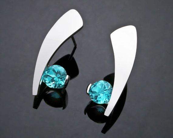 Blue Topaz Earrings - Dangle - Statement Earrings - Turquoise Blue - Eco-Friendly - Modern Earrings - 2489
