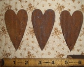 Set of 3 Rusty Crimped Hearts