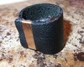 Genuine Distressed Black Leather Ring with Copper Detail