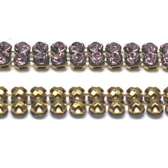 3 Feet Austrian Crystal Rhinestone Chain Footage - Voilet - 2 Rows 5mm - Brass
