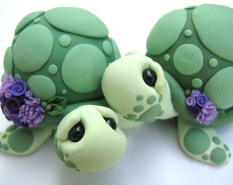 Wedding Cake Toppers Love Turtles handmade