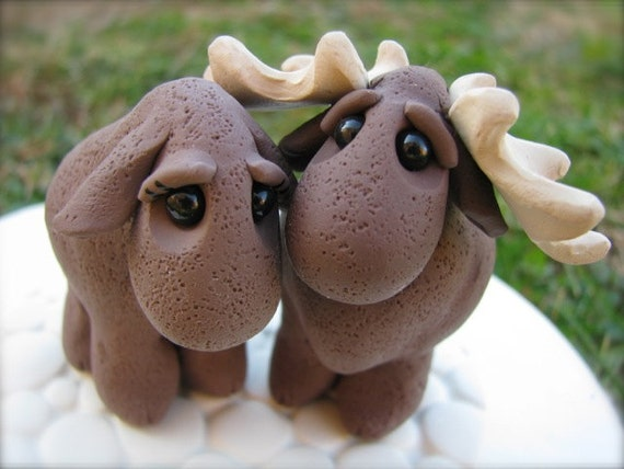 READY to SHIP wedding cake topper Moose Love