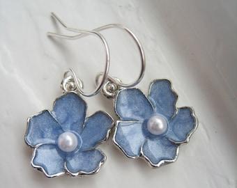 Blue Sakura Flower Earrings