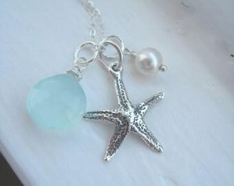 Beach Wedding. Starfish Necklace. Aqua Chalcedony. Ocean Theme.