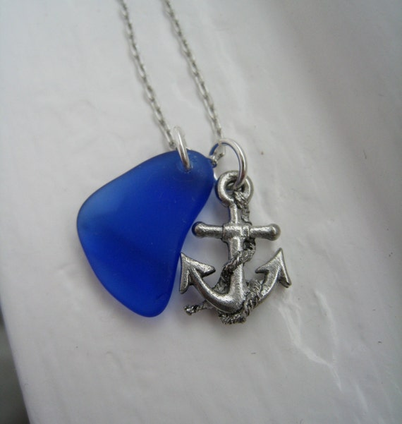 Anchors Away Necklace. Cobalt Sea Glass and Anchor Necklace