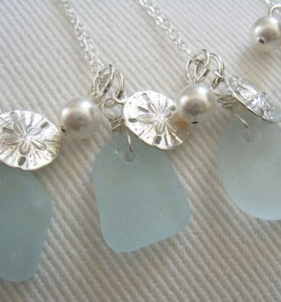Reserved for Amy. Blue Sea glass and Sand Dollar Necklace.