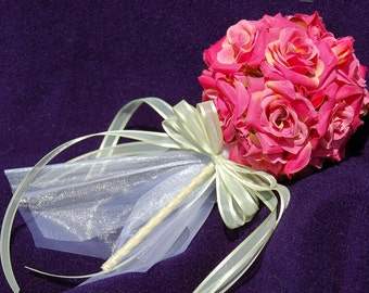 Pink Rose Flower Wand Perfect for Flower Girl, Princess Parties, Fairy Parties, Garden Parties, Tea Parties, Dressing up as Sleeping Beauty
