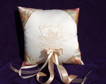 SALE SALE SALE Gorgeous Ring Bearer Pillow with Maple leaf- perfect for an Autumn wedding