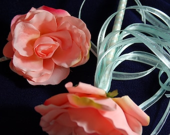 SALE SALE SALE Peach Flower Wand and Matching Flower Hair Clip Perfect for Flower Girl, Princesses, Fairies