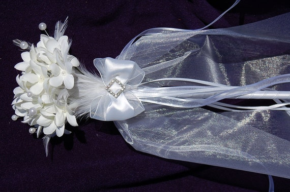 SALE Winter White Flower and Feather Wand Bouquet