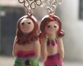 Miniature mermaid earrings, completely handmade.