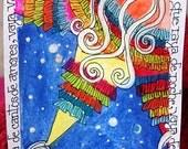 ACEO Vaya Vaya De Cantos De Amores, original illustration.