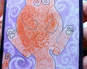 ACEO of an Orange Cat over Purple Background, professional digital print.