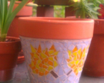 Fall leaf glass mosaic planter
