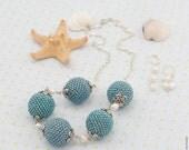 Blue Beaded Necklace - Beach Jewelry, Nautical Jewelry