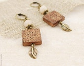 Late autumn - square rustic earrings with antique brass leaves