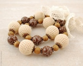 Warm autumn - beige and brown necklace - PaciorkyArtStudio