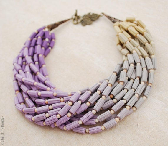 Crocus - stunning spring necklace in lilac and grey colors