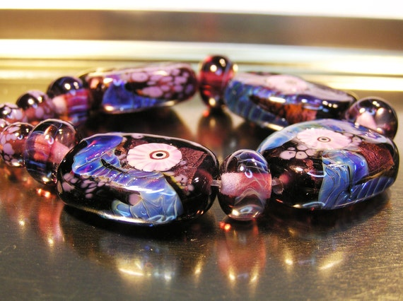Victoria Plum:  Lampwork Set of Nine Beads plus Spacers from Dancing with Glass SRA UK FHFteam Y3