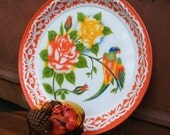 Vintage Tray Enamelware Rare Ex Large Size and Pattern with Roses and Birds