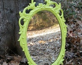 Vintage Hollywood Regency Wall Mirror Ornate Syroco Upcycled in Chartreuse - GloryBDesign