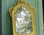 Vintage Hollywood Regency Mirror Upcycled in Lemongrass