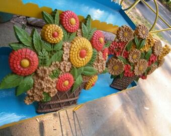 Syroco Vintage Flower Basket Set Retro Wall Decor