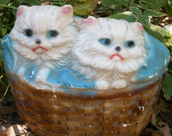 Vintage Chalkware Bank  Kittens in a Basket Carnival Prize