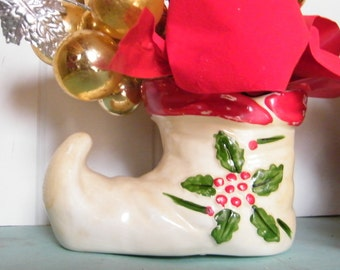 Vintage Planter Elf Shoe 1940s Shabby Chic Christmas