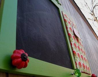 Framed Chalkboard Message Board Organizer Apple Green and Red