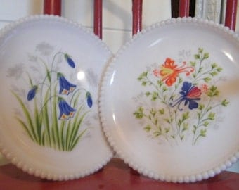 Milk Glass Plate Set with Colorful Flowers