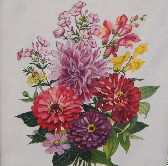 Botanical Print Zinnias Vintage Original Frame c. 1952
