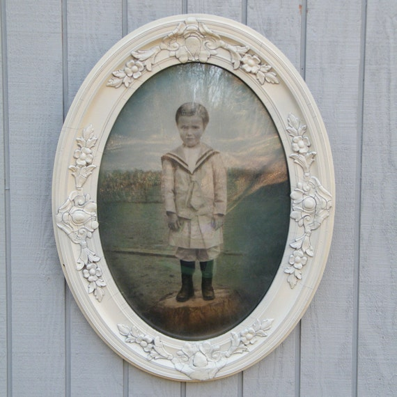 Victorian Photograph Boy in Sailor Suit Hand Colored in Oval Bubble Glass Frame